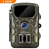 EARTHTREE Wildkamera, 14 MP 1080P Getarnte Outdoor Überwachungskamera Nachtsicht 0,4 Sekunden...