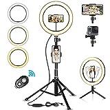SYOSIN LED Ringlicht Stativ mit Fernbedienung, 10.2' Selfie Ringleuchte Doppel-Handyhalter mit 3...